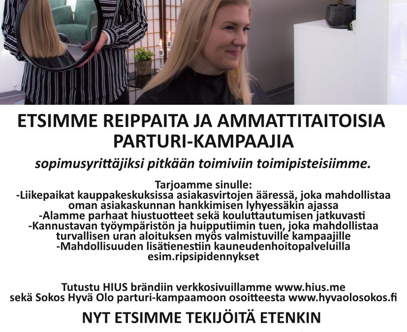 HIUS ja Sokos Hyvä Olo parturi-kampaamo etsii vahvistusta tiimiinsä!